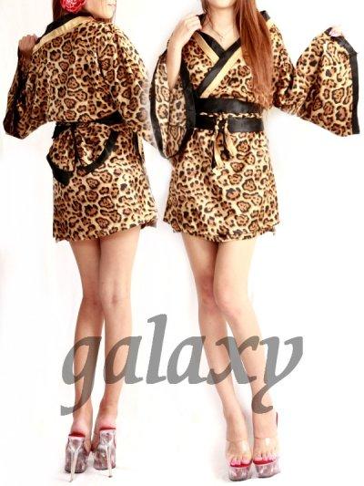 画像1: SEXYサテン豹柄花魁着物ドレス