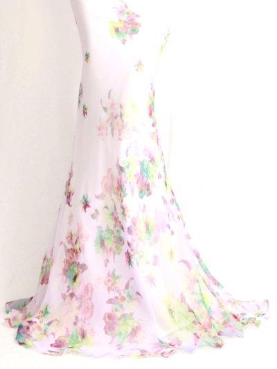 画像3: 煌めきカラービジューシフォン水彩花柄ロングドレス