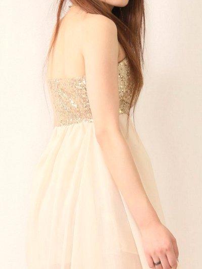 画像2: 豪華胸元スパンコール*シフォン切替ミニロングキャバドレス*2color