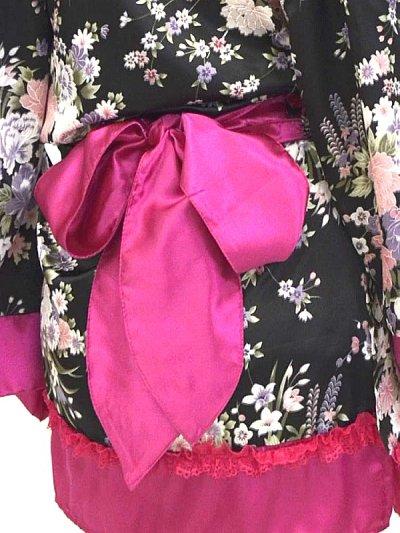 画像3: デカリボン帯*CUTEレースフリル和柄花魁サテンドレス