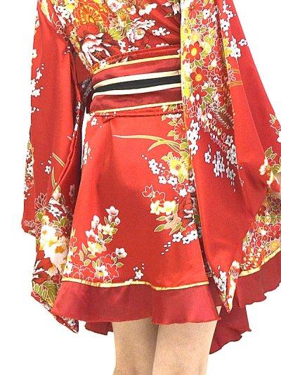 画像3: デカリボン帯*ゴールドパイピング和柄サテン着物ドレス*3color