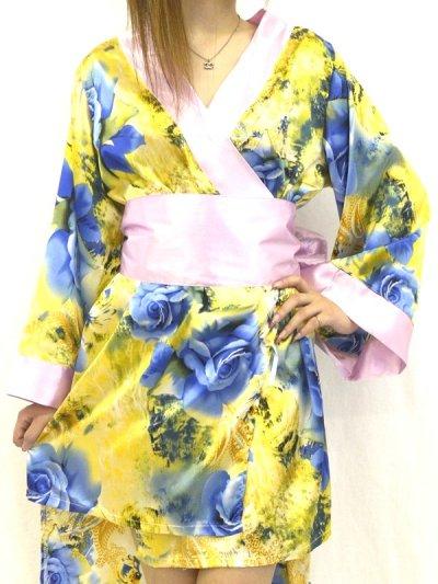 画像1: BlueRose柄*フロントバック丈違い花魁着物ドレス