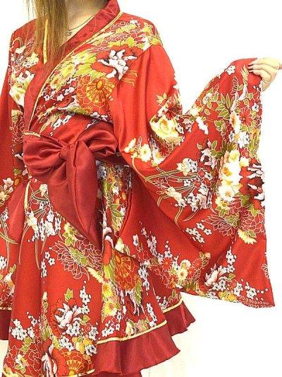 画像1: デカリボン帯*ゴールドパイピング和柄サテン着物ドレス*3color