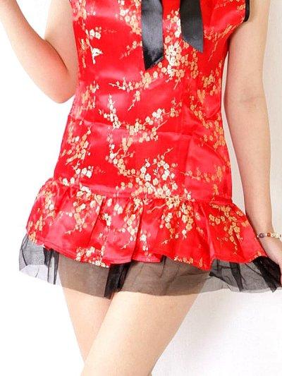 画像3: 襟元リボン★裾フリルSEXY&CUTEなサテンチャイナコスプレワンピ