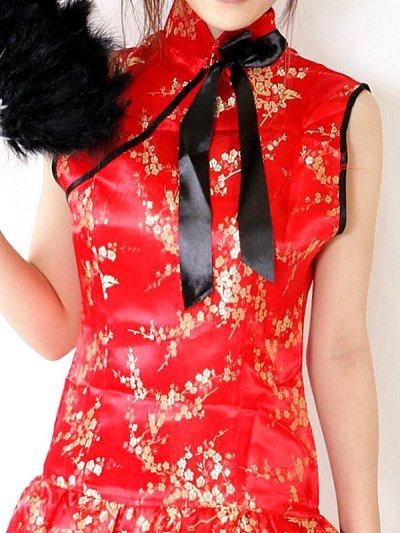 画像1: 襟元リボン★裾フリルSEXY&CUTEなサテンチャイナコスプレワンピ
