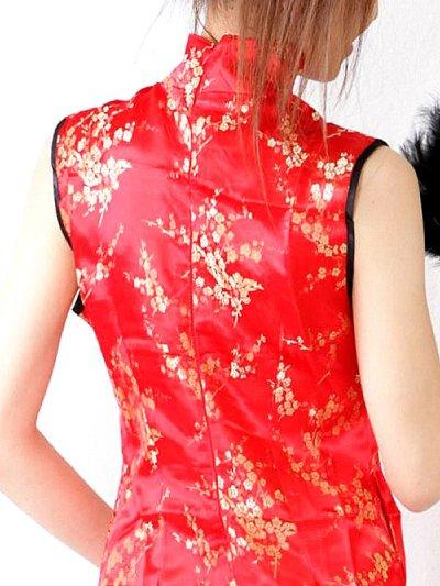 画像2: 襟元リボン★裾フリルSEXY&CUTEなサテンチャイナコスプレワンピ