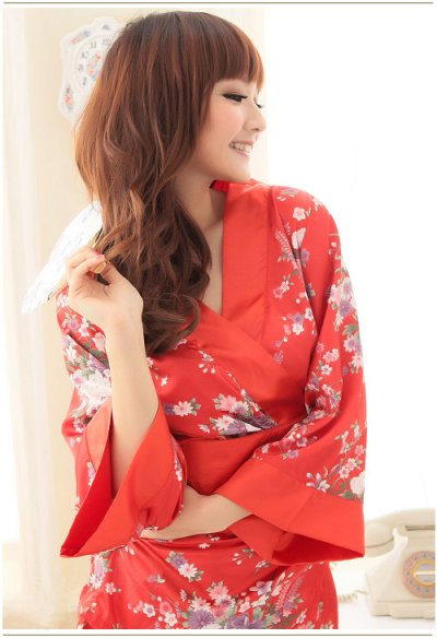 画像1: 浴衣イベント・花魁コスプレに♪【4点SET】花魁風和風花柄2Pサテン着物ドレス♪