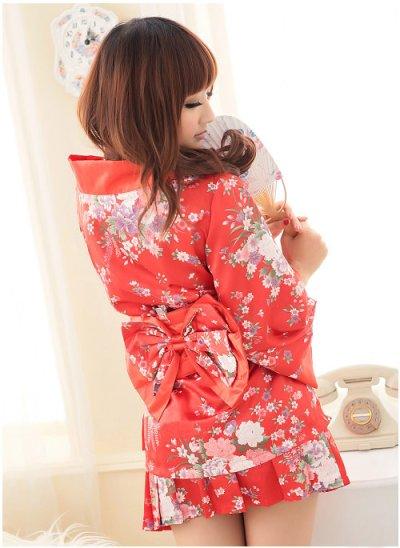 画像3: 浴衣イベント・花魁コスプレに♪【4点SET】花魁風和風花柄2Pサテン着物ドレス♪