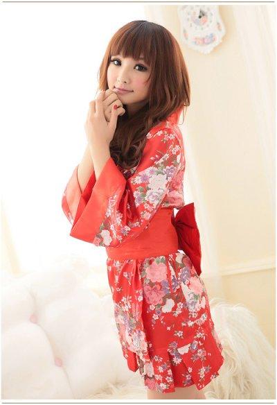 画像2: 浴衣イベント・花魁コスプレに♪【4点SET】花魁風和風花柄2Pサテン着物ドレス♪