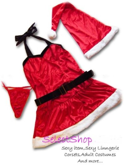 画像3: ベルト付き胸元ブラック切替セクシークリスマスコスチューム【4点セット】