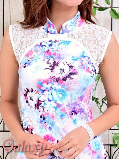 画像1: 美スタイル*レース切替花柄チャイナワンピースドレス*2color
