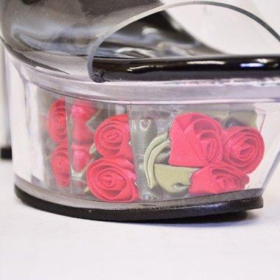 画像2: オシャレに差がつく薔薇がキュート♪セクシーローズクリアサンダルハイヒール*5color