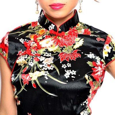 画像3: チャイナボタン付*和風花柄サテンチャイナミニドレス*3color