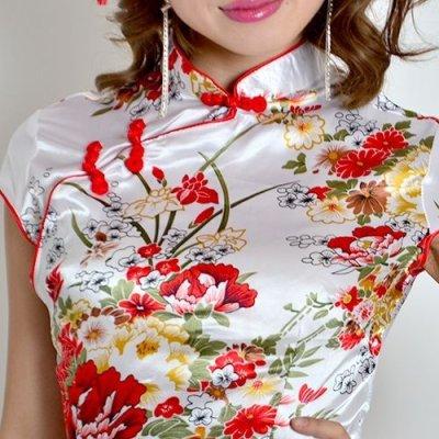 画像1: チャイナボタン付*和風花柄サテンチャイナミニドレス*3color