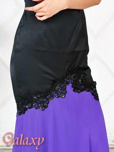 画像3: スパン刺繍レースサテン切り替えシフォンロングドレス