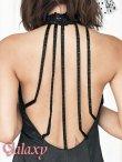画像7: スパン刺繍レースサテン切り替えシフォンロングドレス (7)