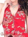 画像10: ジルコニアライン*GOLDラメ入り和風花柄ストレッチロングドレス*2color*M/L (10)