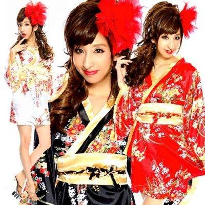 画像1: Japanese着物テイスト振袖ミニワンピース*3color