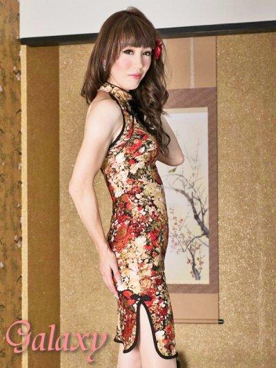 画像3: ゴールドラメ入りストレッチ和柄ミニチャイナドレス
