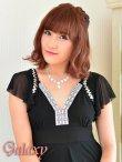 画像16: 胸元Vライン*ビジュ&スパンコール装飾ストレッチミニワンピ*3color (16)