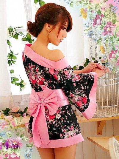 画像3: 浴衣イベント・花魁コスプレに【3点SET】花魁風和風花柄着物ドレス