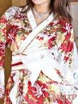 画像4: デカリボン帯*ゴールドパイピング和柄サテン着物ドレス*3color (4)