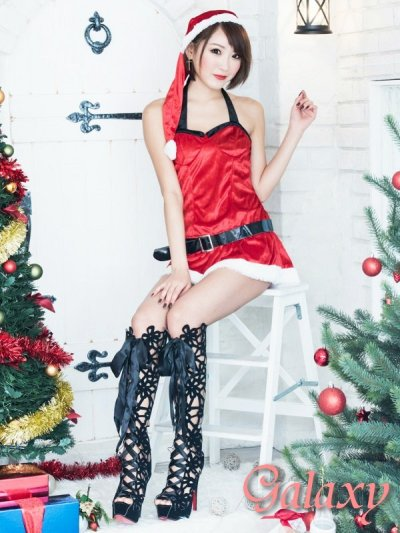 画像2: ベルト付き胸元ブラック切替セクシークリスマスコスチューム【4点セット】