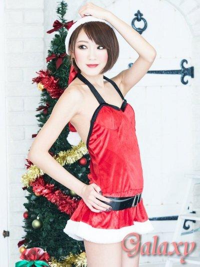 画像1: ベルト付き胸元ブラック切替セクシークリスマスコスチューム【4点セット】
