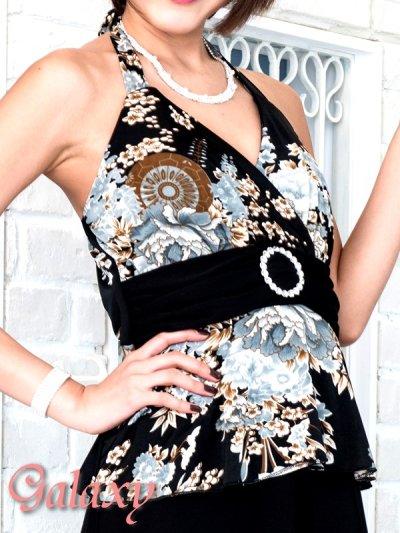 画像3: ジルコニアサークルバックル付*和風花柄エステルぺプラムロングドレス*M/L
