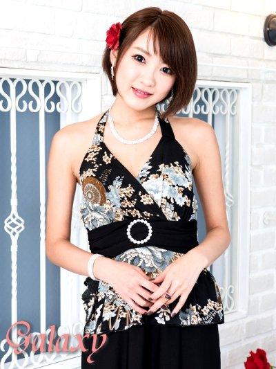 画像1: ジルコニアサークルバックル付*和風花柄エステルぺプラムロングドレス*M/L