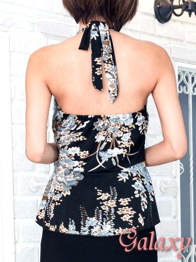 画像2: ジルコニアサークルバックル付*和風花柄エステルぺプラムロングドレス*M/L