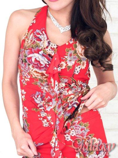 画像2: 絢爛華麗★煌和風花柄SEXYフレアースリット2ピースドレス*M/L
