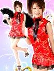 画像1: 襟元リボン★裾フリルSEXY&CUTEなサテンチャイナコスプレワンピ  (1)