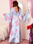 画像4: 豪華カラービジュ付*淡色花柄花魁ミニinロングサテン着物ドレス*2color (4)
