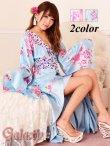 画像1: 豪華カラービジュ付*淡色花柄花魁ミニinロングサテン着物ドレス*2color (1)