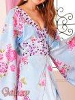 画像5: 豪華カラービジュ付*淡色花柄花魁ミニinロングサテン着物ドレス*2color (5)