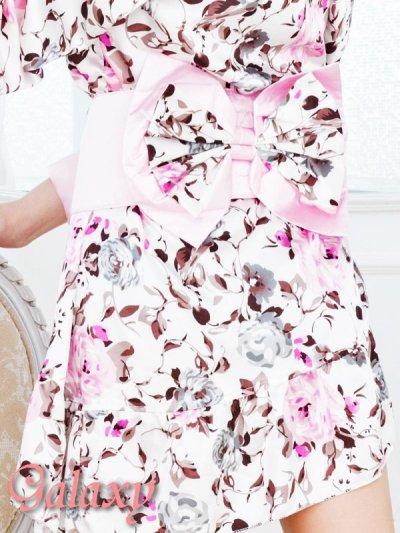 画像3: フロント斜めフリル裾*花柄サテン花魁着物ミニドレス