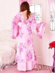 画像10: 豪華カラービジュ付*淡色花柄花魁ミニinロングサテン着物ドレス*2color (10)
