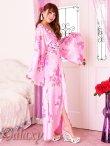 画像9: 豪華カラービジュ付*淡色花柄花魁ミニinロングサテン着物ドレス*2color (9)