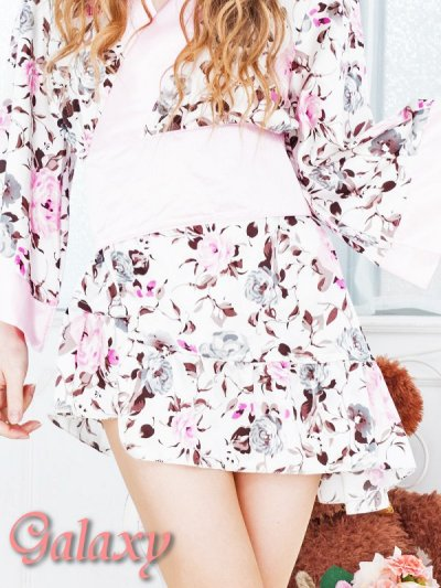 画像2: フロント斜めフリル裾*花柄サテン花魁着物ミニドレス