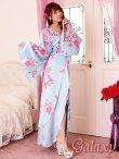 画像3: 豪華カラービジュ付*淡色花柄花魁ミニinロングサテン着物ドレス*2color (3)
