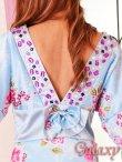 画像6: 豪華カラービジュ付*淡色花柄花魁ミニinロングサテン着物ドレス*2color (6)