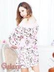 画像8: フロント斜めフリル裾*花柄サテン花魁着物ミニドレス (8)
