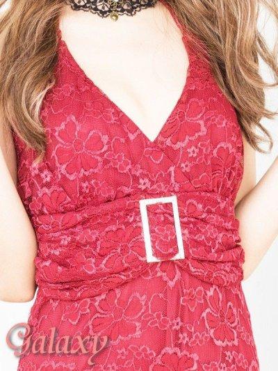 画像1: Lサイズ★クリスタルストーンバックル付き上品総フラワーレースロングドレス