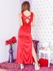 画像3: 胸元谷間魅せバッククロス&ドレープ*ビーズ装飾SEXYサテンロングドレス (3)
