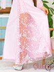 画像6: チュールショール付☆ラメドット入り刺繍花柄チュール重ねベアロングドレス*6color (6)