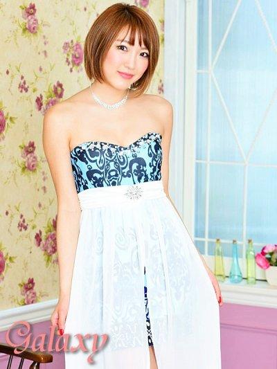 画像1: 豪華クリスタルビジュー装飾*シフォンヴェール付ペルシャ柄インナーミニロングドレス*2color*M/L