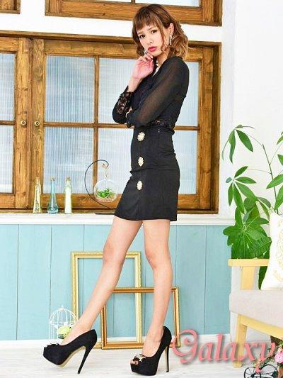 画像1: シースルー&レーストップス*大粒パール飾り釦SEXYセットアップ*M/L/XL