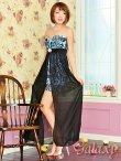画像2: 豪華クリスタルビジュー装飾*シフォンヴェール付ペルシャ柄インナーミニロングドレス*2color*M/L (2)