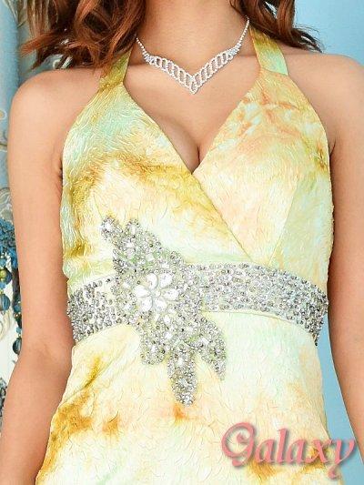 画像1: 上質*豪華ビジュー&スパンコール盛り*ROSEエンボス加工グラデーションロングドレス